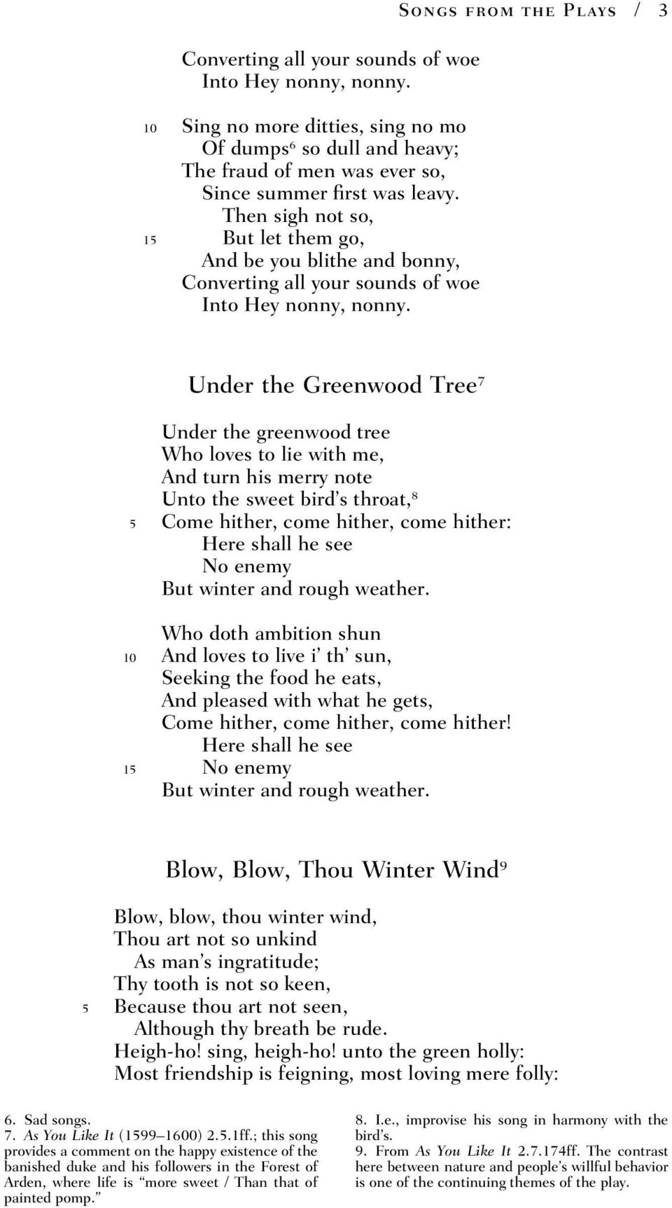 Songs from the Plays / 3 Under the Greenwood Tree 7 Under the greenwood tree Who loves to lie with me, And turn his merry note Unto the sweet bird s throat, 8 5 Come hither, come hither, come hither: