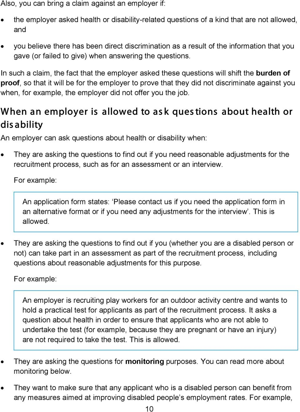 your rights to equality at work when you apply for a job pdf in such a claim the fact that the employer asked these questions will shift the