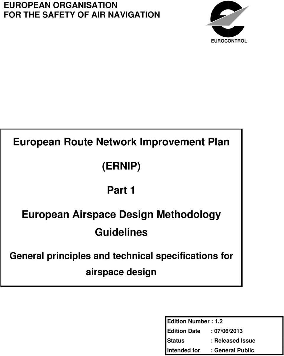 Guidelines General principles and technical specifications for airspace design
