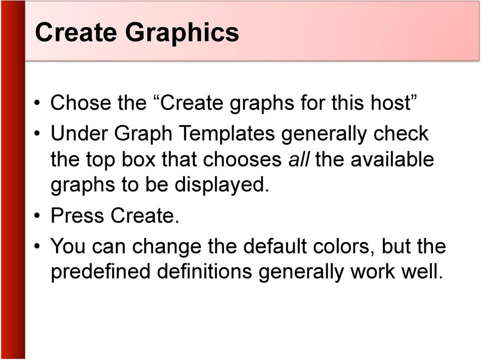 available graphs to be displayed. Press Create.