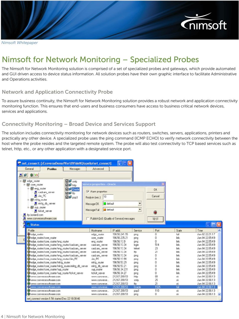 Network and Application Connectivity Probe To assure business continuity, the Nimsoft for Network Monitoring solution provides a robust network and application connectivity monitoring function.