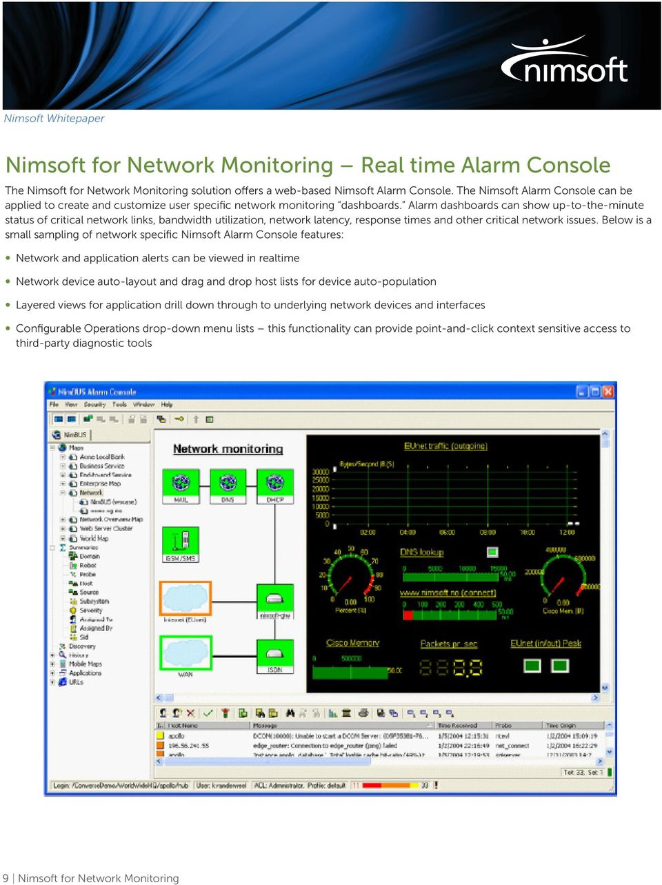Alarm dashboards can show up-to-the-minute status of critical network links, bandwidth utilization, network latency, response times and other critical network issues.