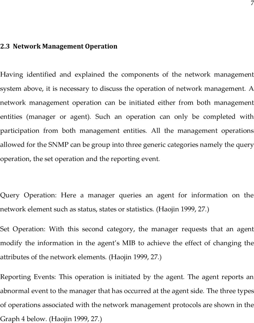All the management operations allowed for the SNMP can be group into three generic categories namely the query operation, the set operation and the reporting event.