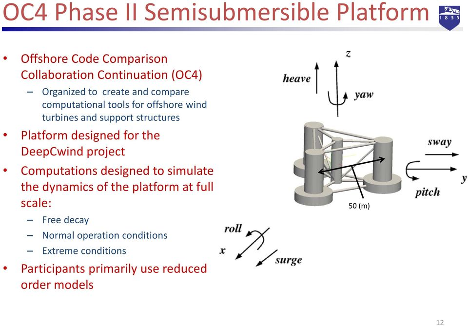 for the DeepCwind project Computations designed to simulate the dynamics of the platform at full scale: Free