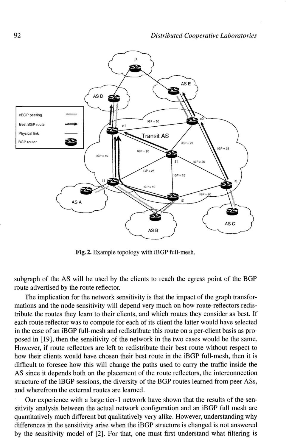 The implication for the network sensitivity is that the impact of the graph transformations and the node sensitivity will depend very much on how route-reflectors redistribute the routes they learn