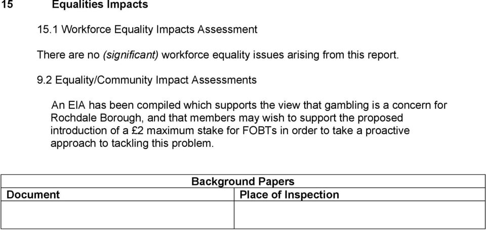 2 Equality/Community Impact Assessments An EIA has been compiled which supports the view that gambling is a concern for