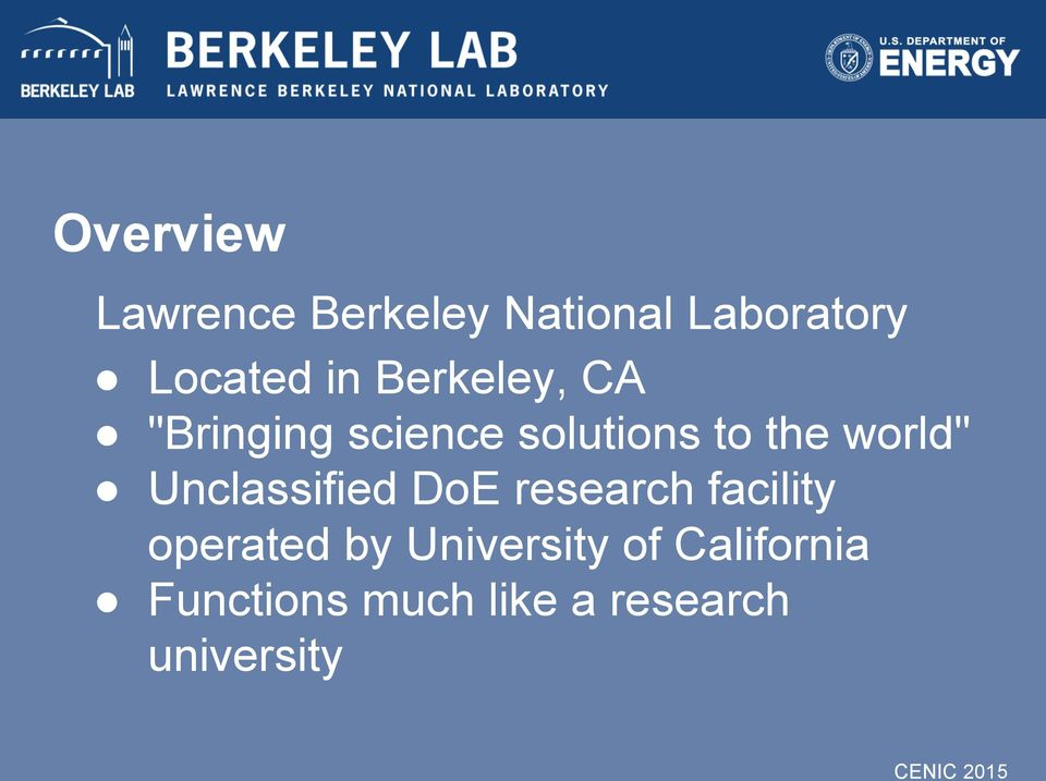 "world"" Unclassified DoE research facility operated by"