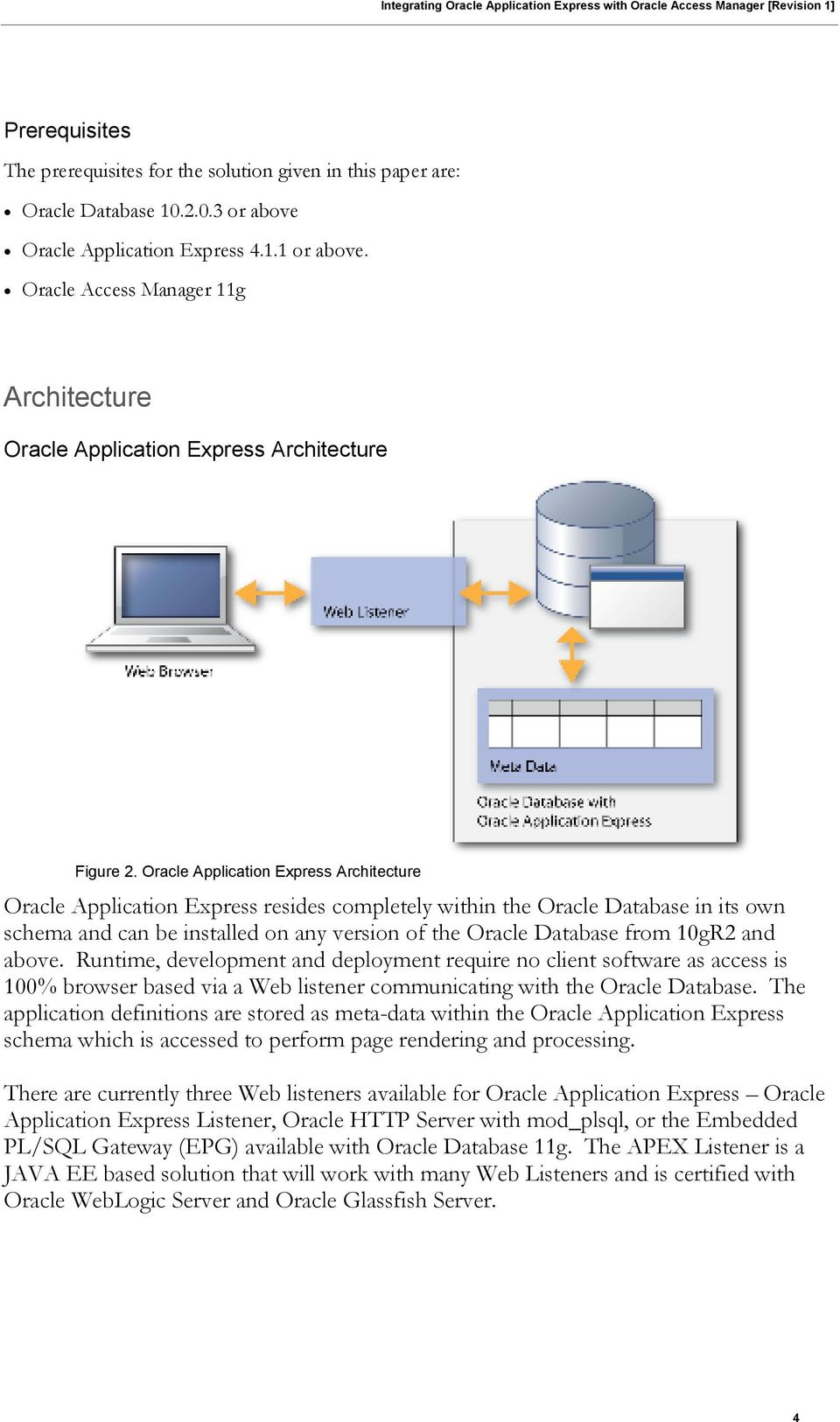 Oracle Application Express Architecture Oracle Application Express resides completely within the Oracle Database in its own schema and can be installed on any version of the Oracle Database from