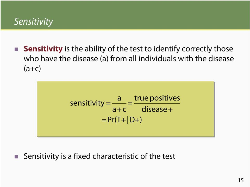 with the disease (a+c) sensitivity = a true positives = a+ c