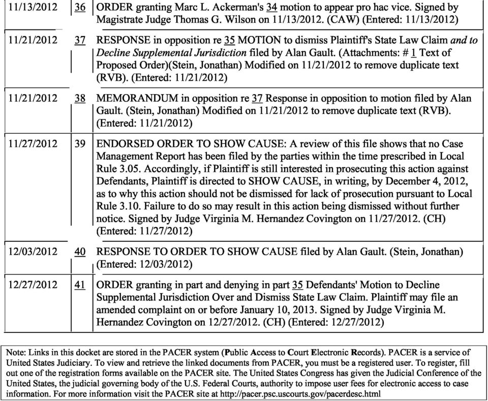 (Attachments: # 1 Text of Proposed Order)(Stein, Jonathan) Modified on 11/21/2012 to remove duplicate text (RVB).