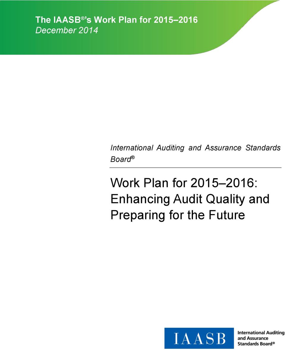 Standards Board Work Plan for 2015 2016:
