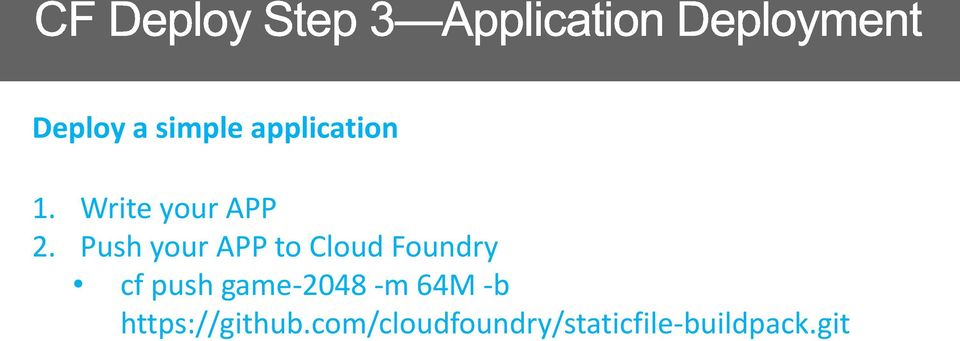Push your APP to Cloud Foundry cf push