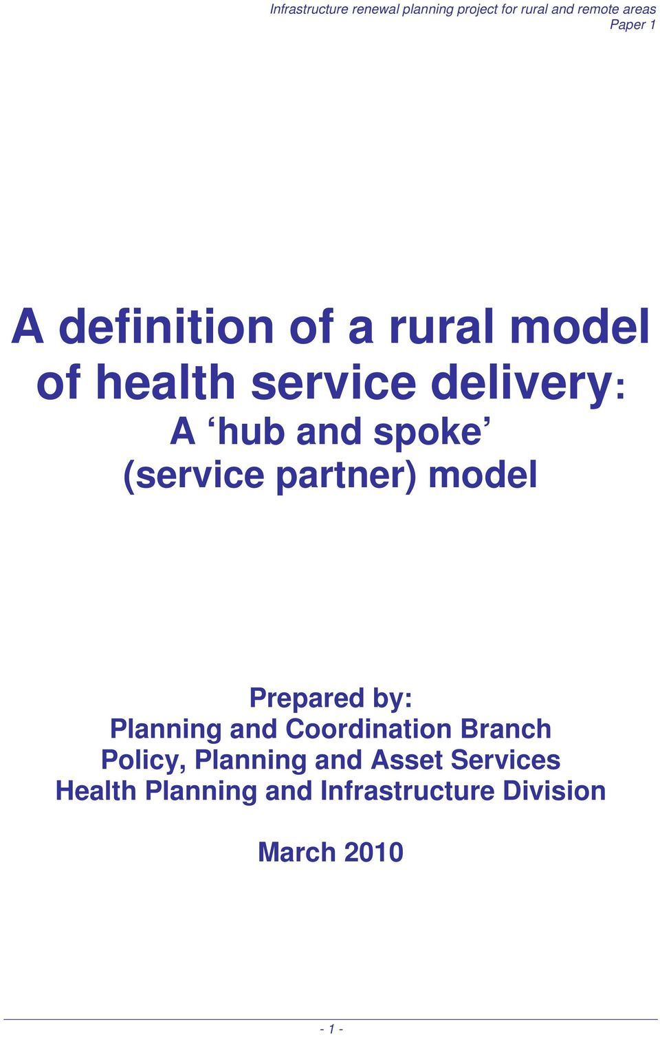 and Coordination Branch Policy, Planning and Asset Services