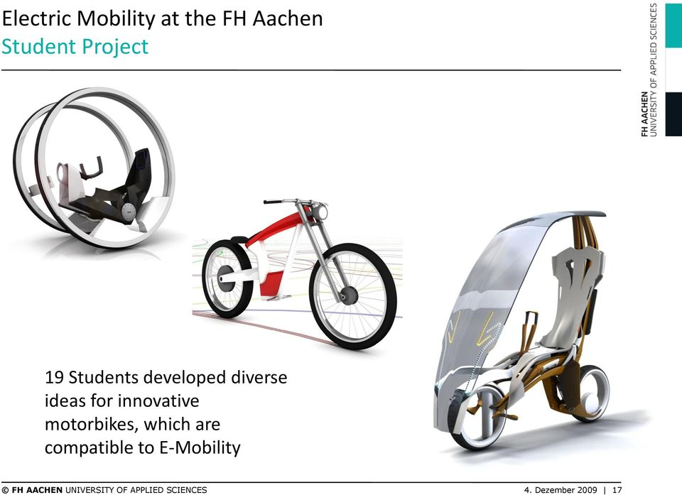 motorbikes, which are compatible to E-Mobility FH