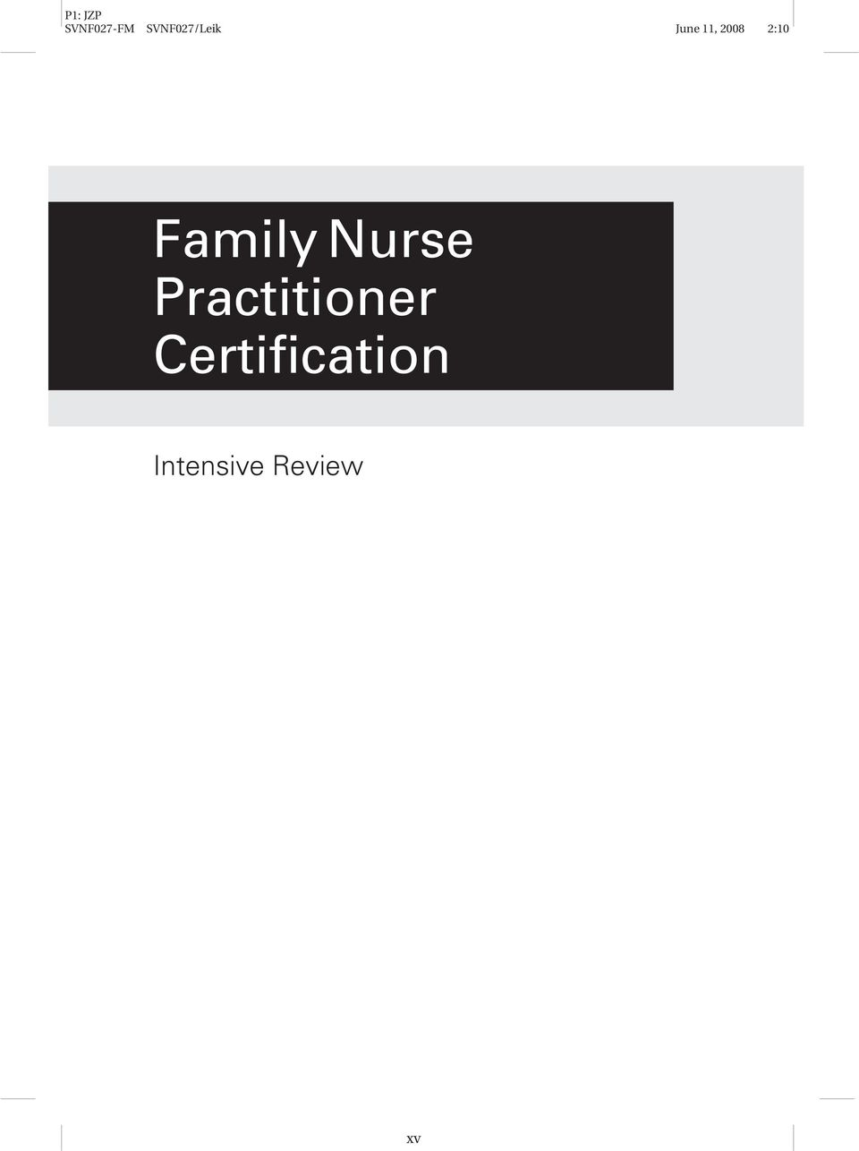 Family Nurse Practitioner Certification Pdf