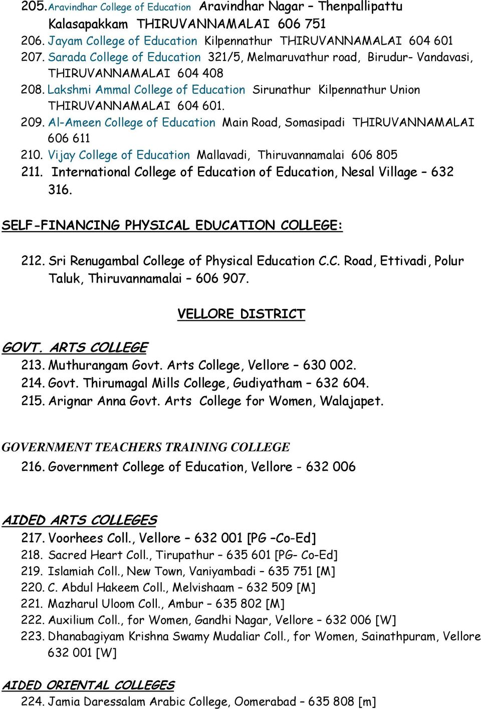 Al-Ameen College of Education Main Road, Somasipadi THIRUVANNAMALAI 606 611 210. Vijay College of Education Mallavadi, Thiruvannamalai 606 805 211.