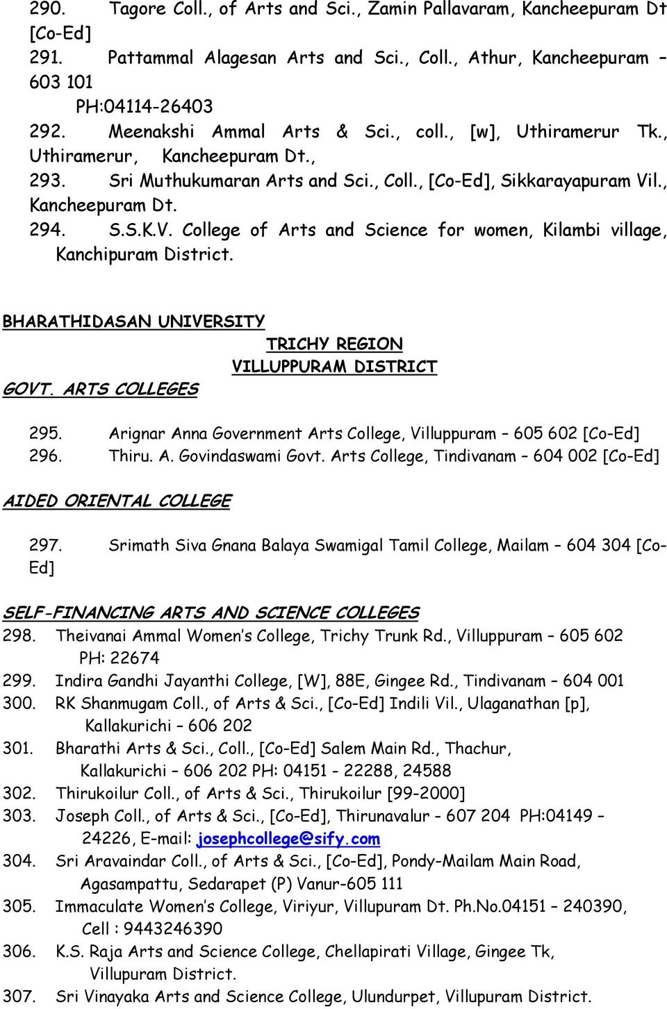 l., Kancheepuram Dt. 294. S.S.K.V. College of Arts and Science for women, Kilambi village, Kanchipuram District. BHARATHIDASAN UNIVERSITY TRICHY REGION VILLUPPURAM DISTRICT GOVT. ARTS COLLEGES 295.