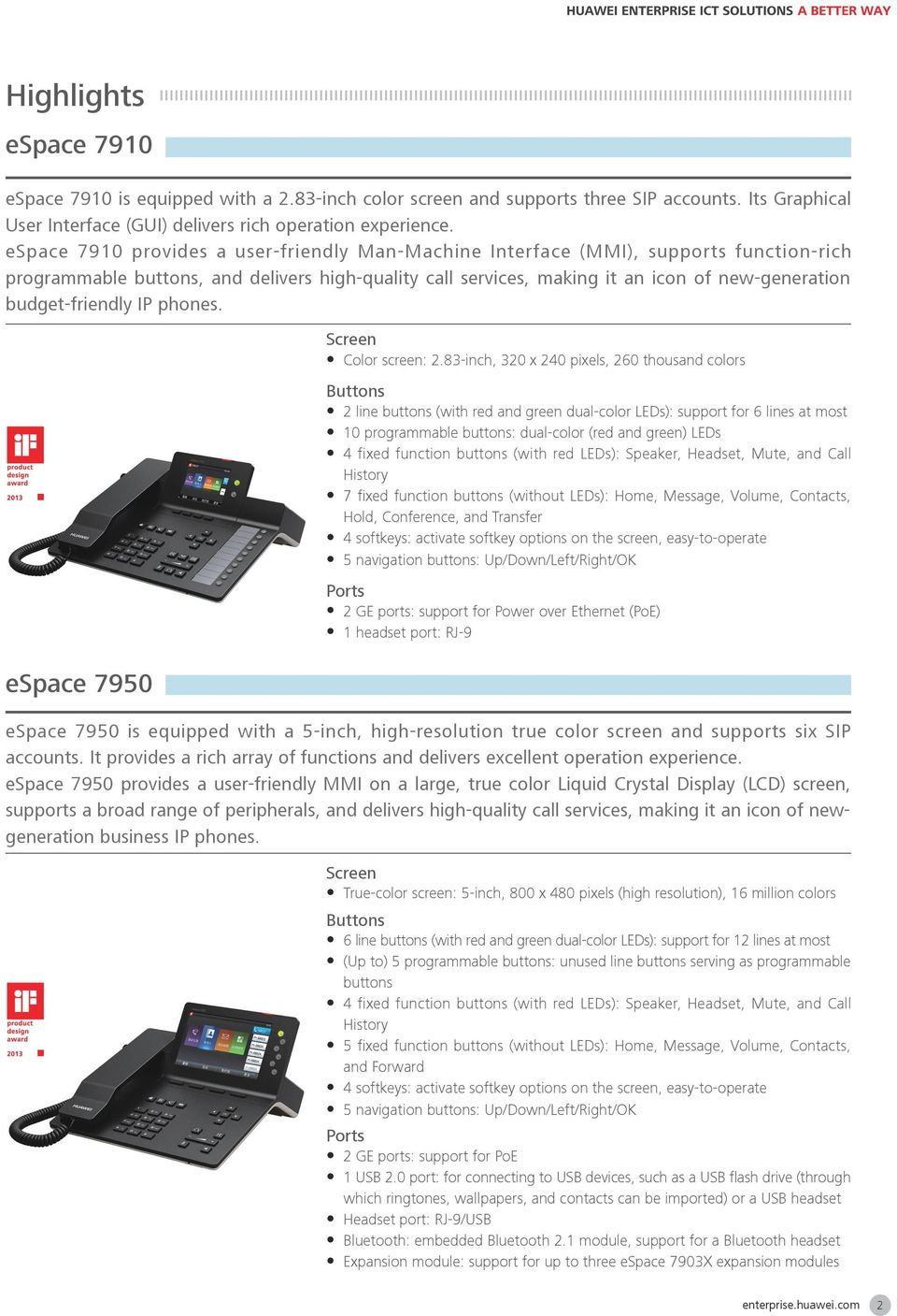 budget-friendly IP phones. espace 7950 Screen y Color screen: 2.
