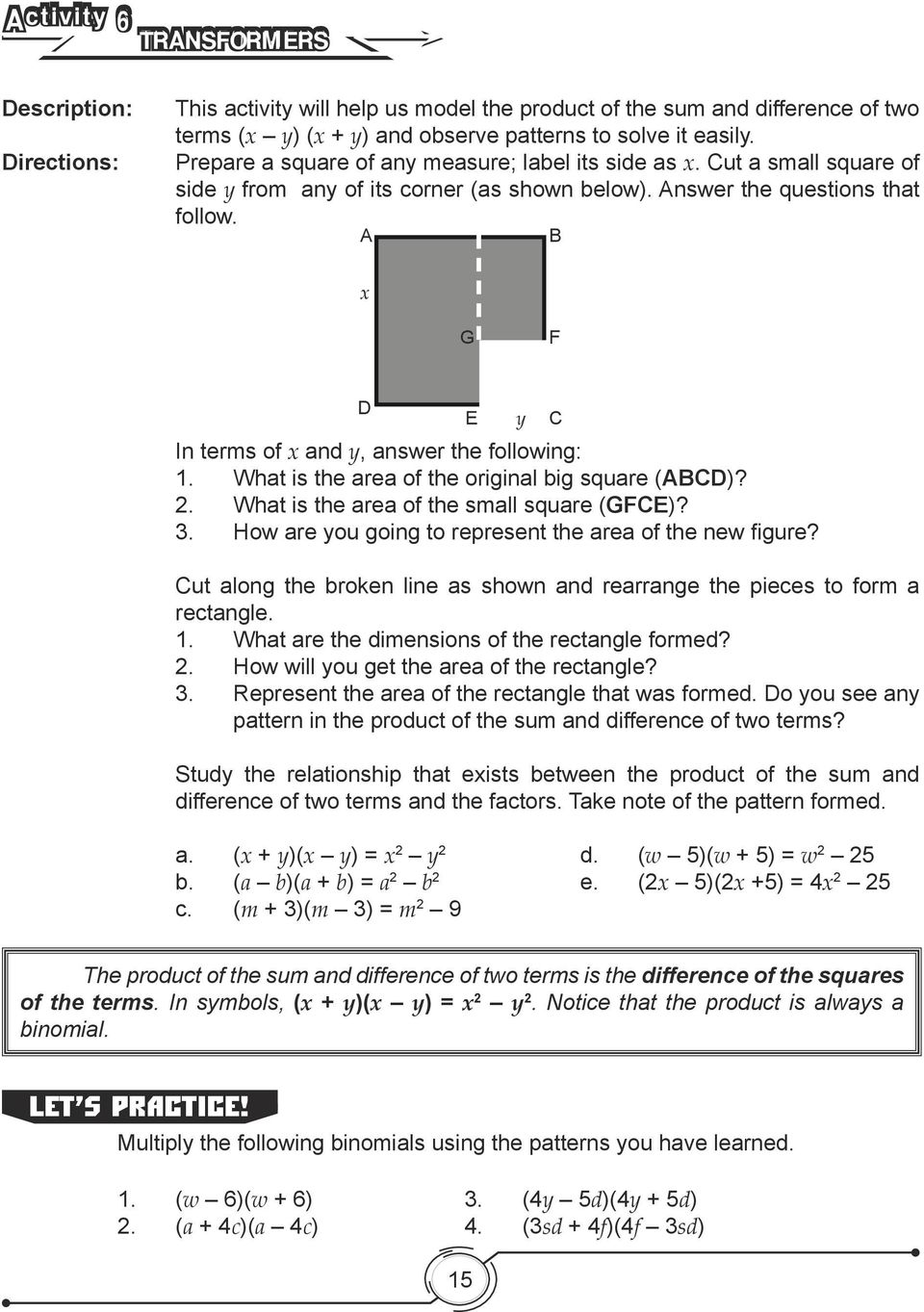 SPECIAL PRODUCTS AND FACTORS PDF – Factoring Trinomials of the Form Ax2 Bx C Worksheet Answers