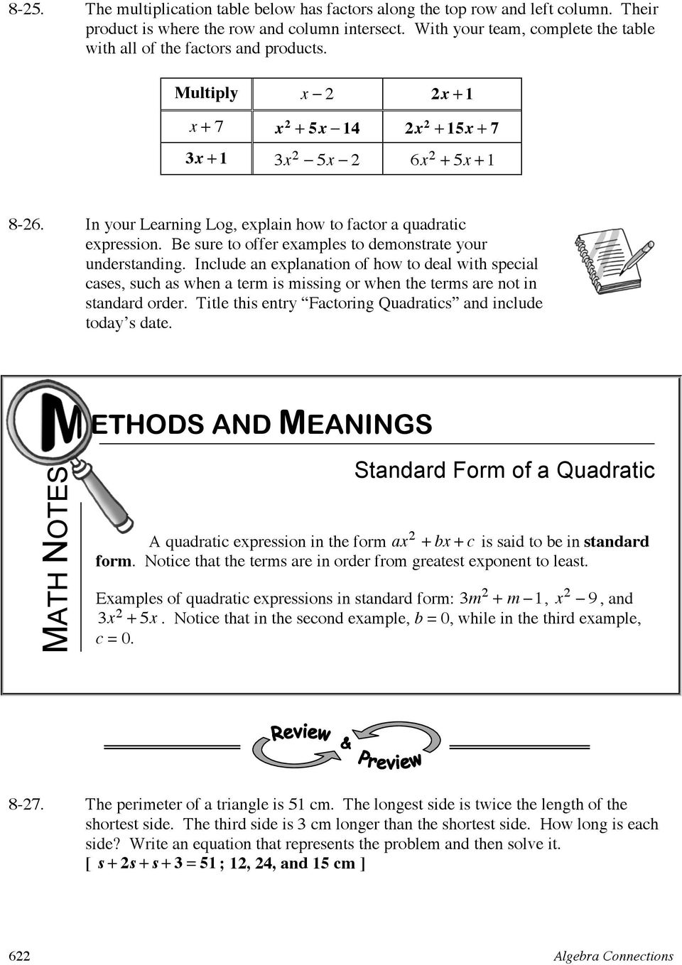 In your Learning Log, explain how to factor a quadratic expression. Be sure to offer examples to demonstrate your understanding.