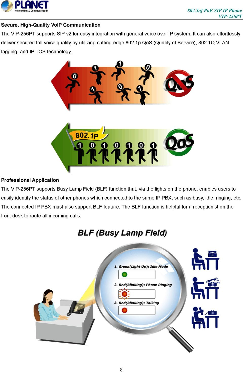 Professional Application The supports Busy Lamp Field (BLF) function that, via the lights on the phone, enables users to easily identify the status of other phones
