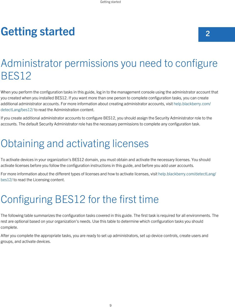 For more information about creating administrator accounts, visit help.blackberry.com/ detectlang/bes12/ to read the Administration content.