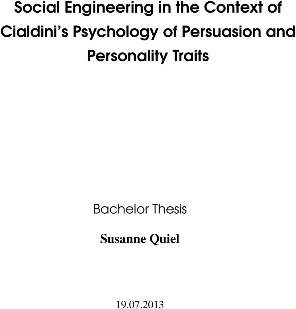 Persuasion and Personality Traits