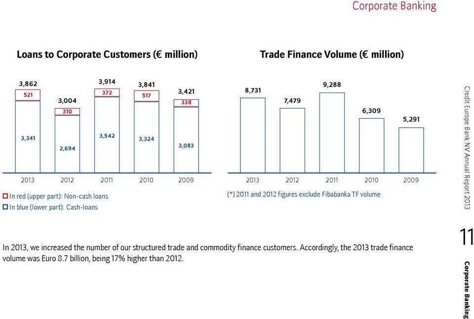 figures exclude Fibabanka TF volume In 2013, we increased the number of our structured trade and commodity finance customers.