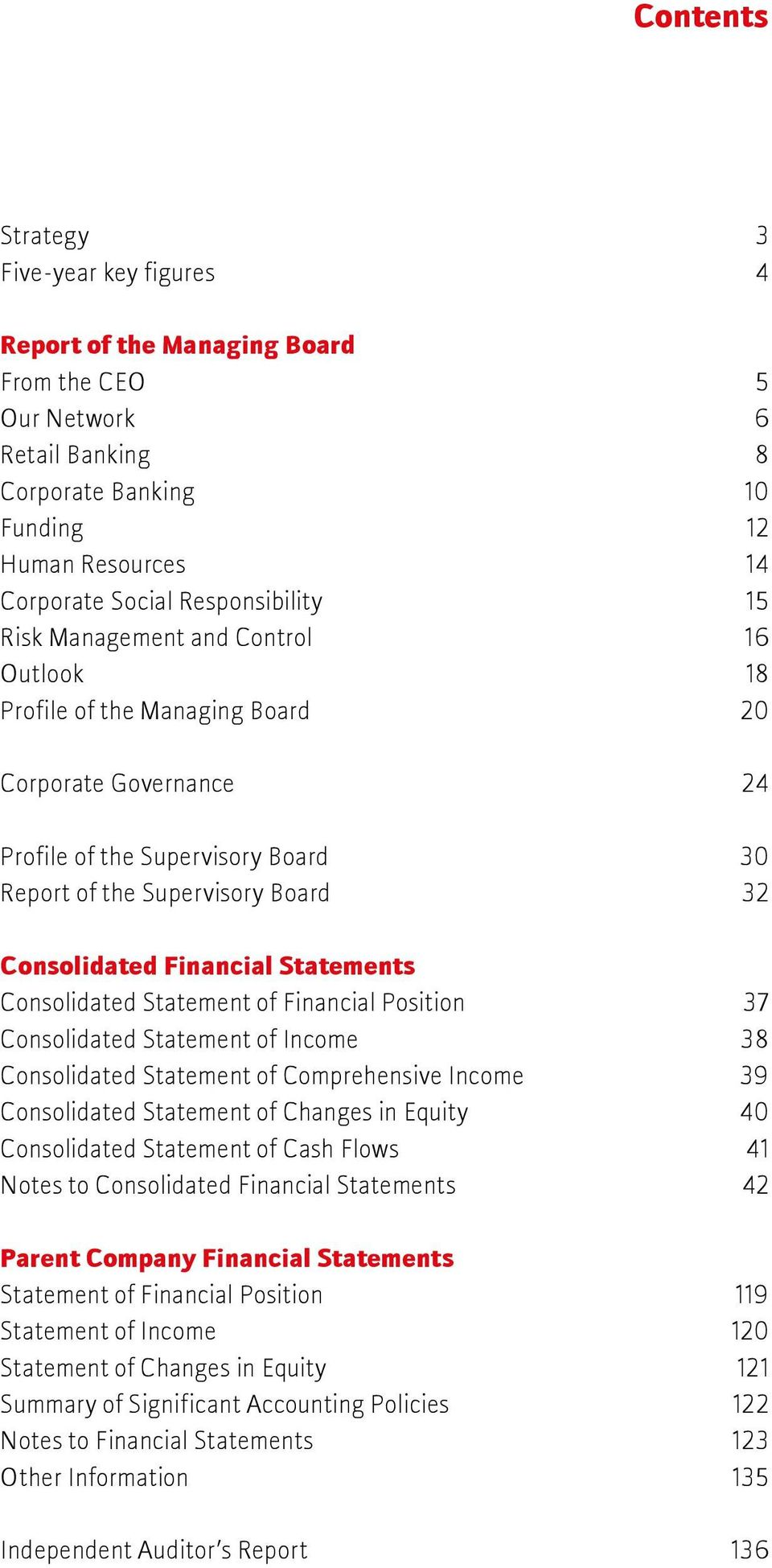 Consolidated Financial Statements Consolidated Statement of Financial Position 37 Consolidated Statement of Income 38 Consolidated Statement of Comprehensive Income 39 Consolidated Statement of