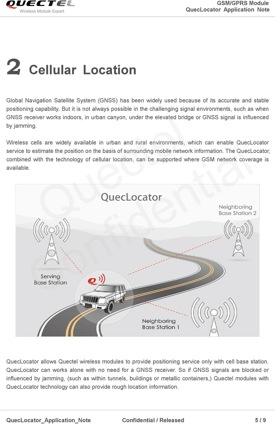 Wireless cells are widely available in urban and rural environments, which can enable QuecLocator service to estimate the position on the basis of surrounding mobile network information.
