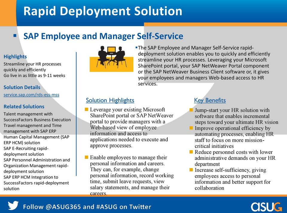 E-Recruiting rapiddeployment solution SAP Personnel Administration and Organization Management rapiddeployment solution SAP ERP HCM Integration to SuccessFactors rapid-deployment solution Solution