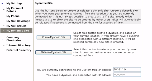 . Figure 10: Dynamic site page Create a dynamic site To create a dynamic site, follow these steps: 1 Select My Dynamic Site in the left menu. 2 Select the Create Dynamic Site button.