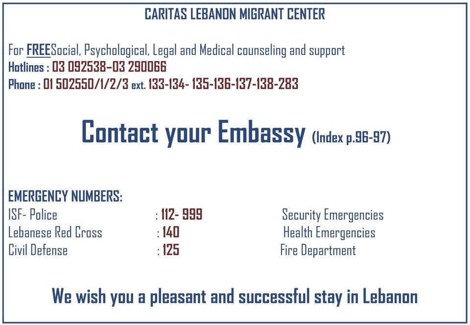 lb Contact your Embassy (Index p.