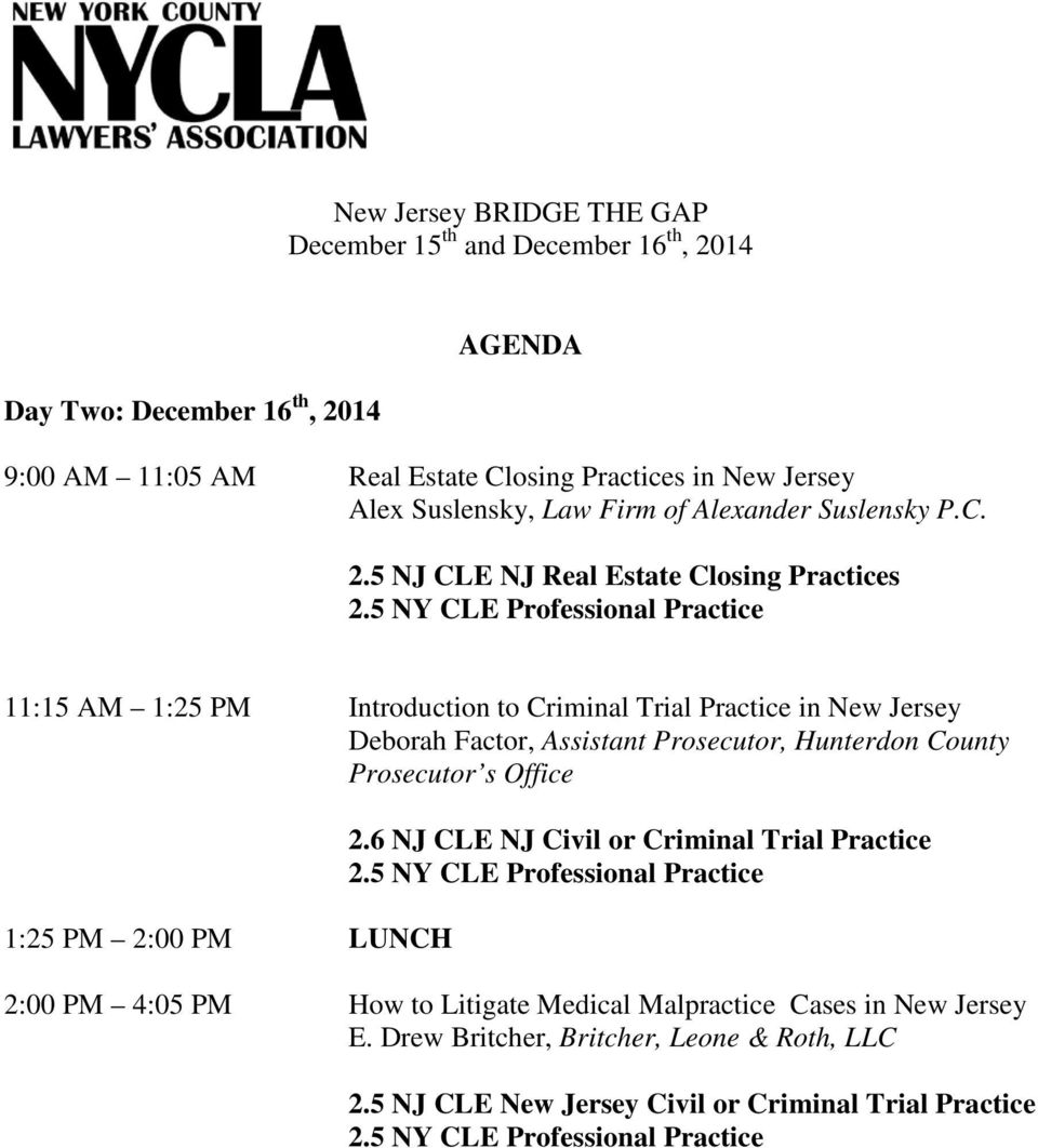 5 NY CLE Professional Practice 11:15 AM 1:25 PM Introduction to Criminal Trial Practice in New Jersey Deborah Factor, Assistant Prosecutor, Hunterdon County Prosecutor s Office 1:25 PM