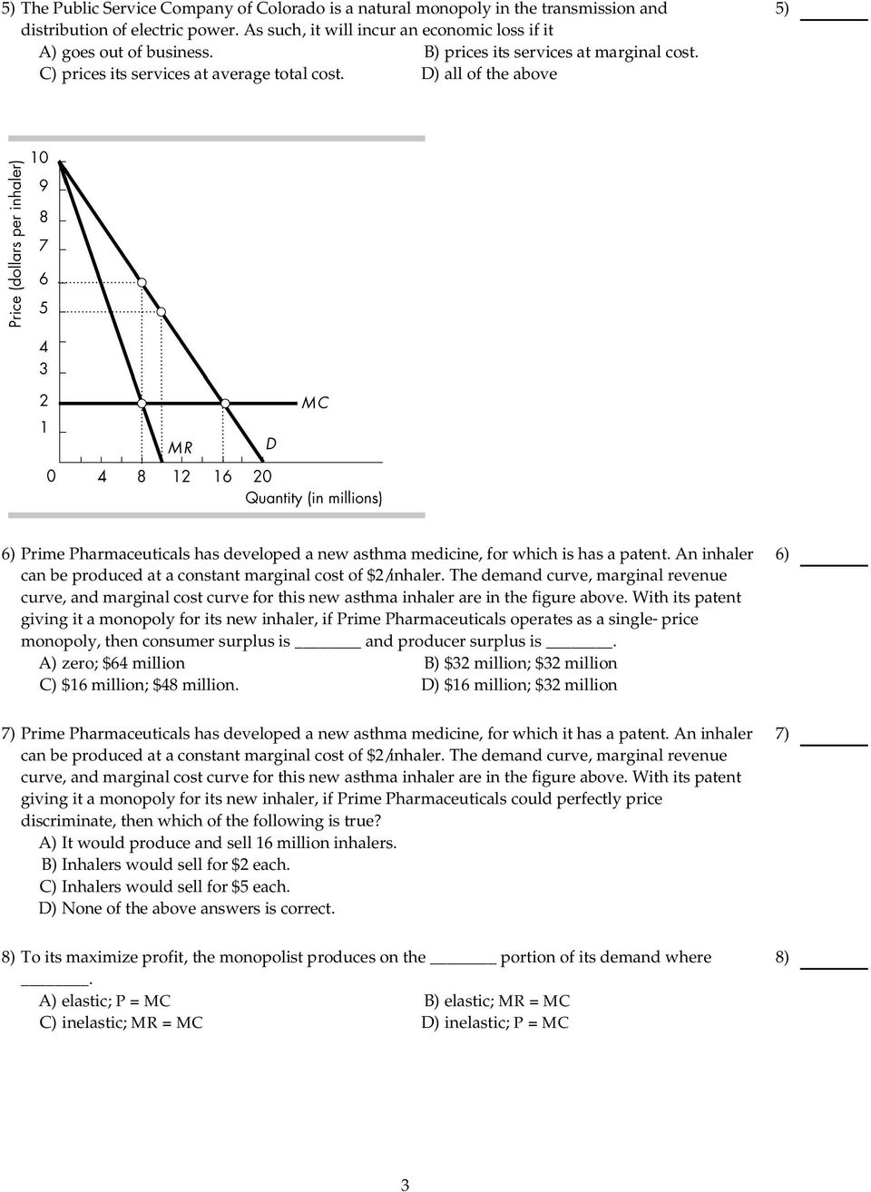 An inhaler can be produced at a constant marginal cost of $2/inhaler. The demand curve, marginal revenue curve, and marginal cost curve for this new asthma inhaler are in the figure above.
