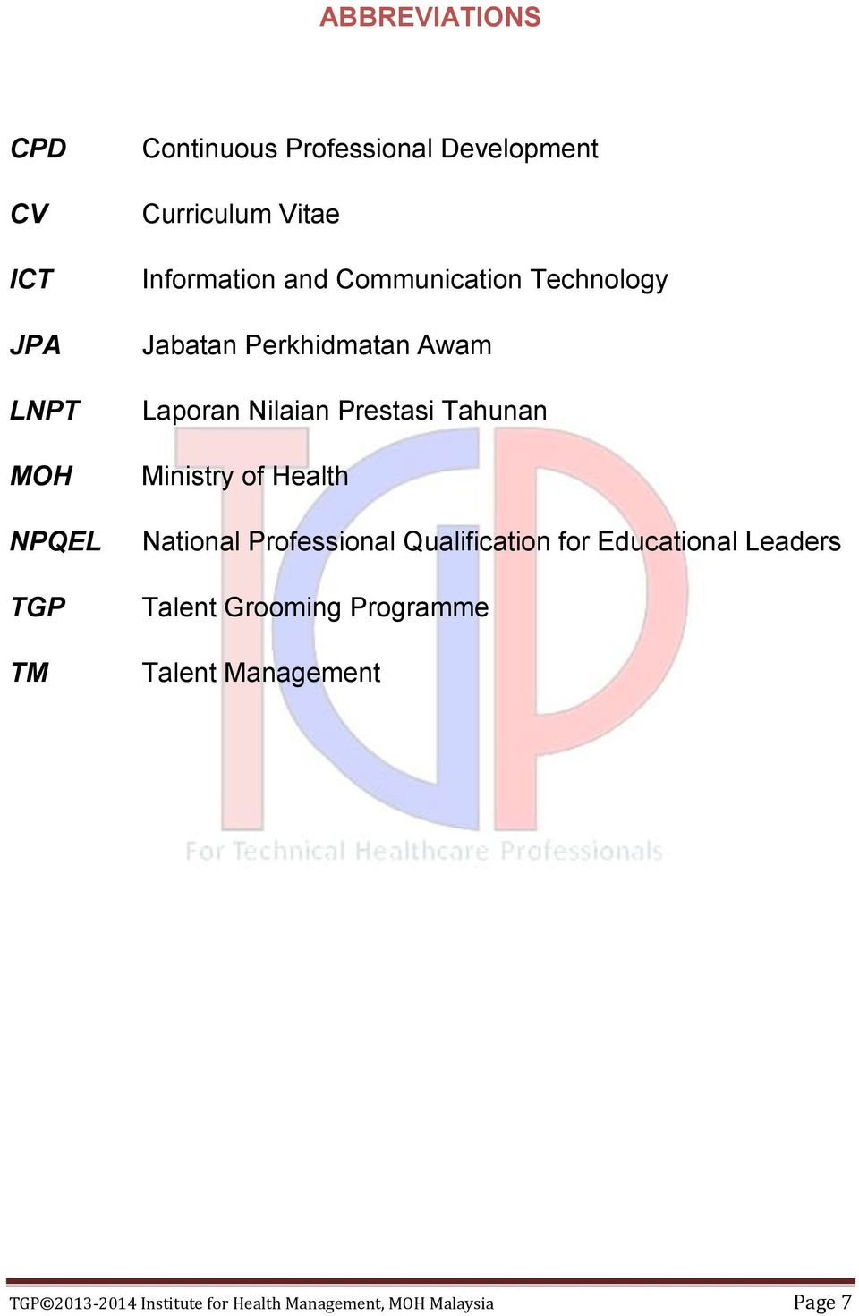 Tahunan Ministry of Health National Professional Qualification for Educational Leaders Talent
