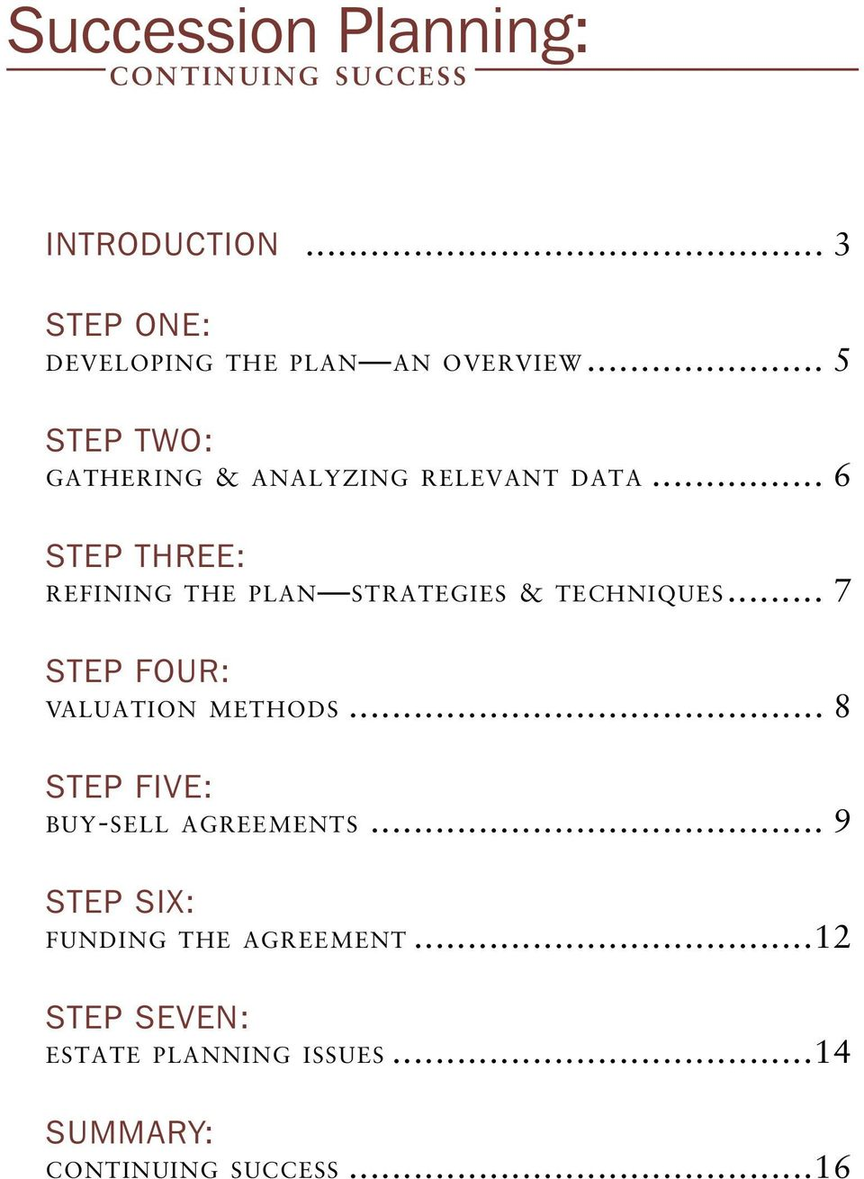 .. 6 STEP THREE: REFINING THE PLAN STRATEGIES & TECHNIQUES... 7 STEP FOUR: VALUATION METHODS.
