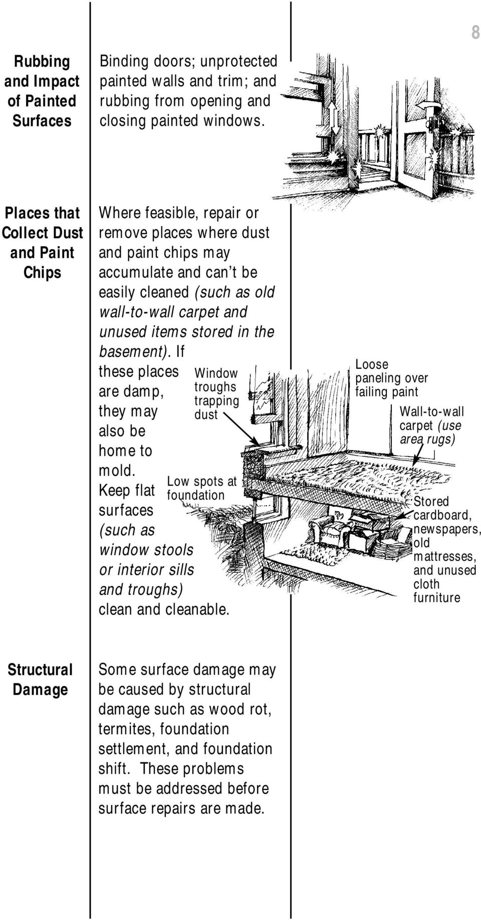 items stored in the basement). If these places are damp, they may also be home to Window troughs trapping dust mold.