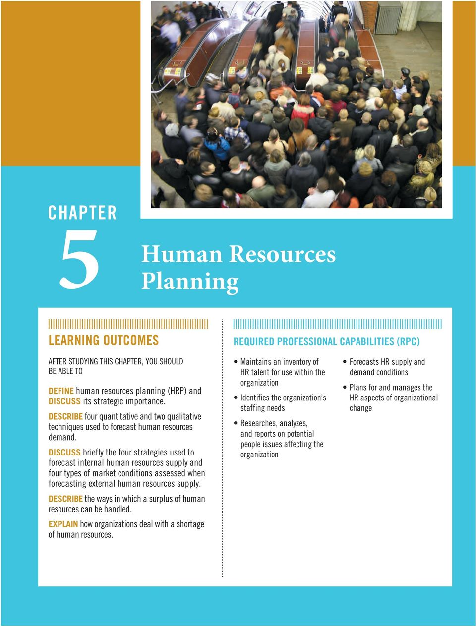 DISCUSS briefly the four strategies used to forecast internal human resources supply and four types of market conditions assessed when forecasting external human resources supply.