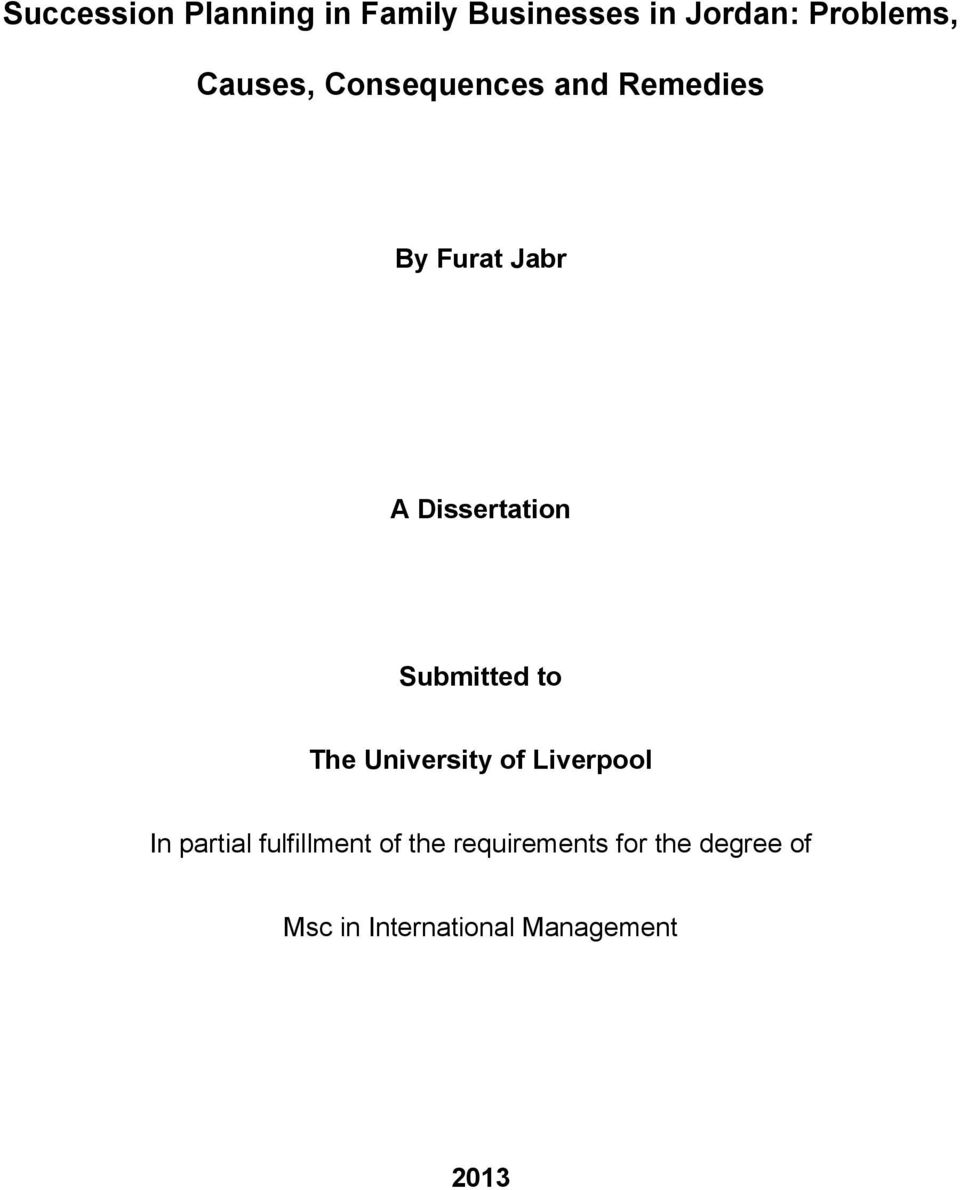 Dissertation Submitted to The University of Liverpool In partial