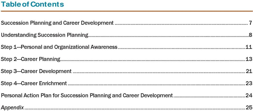 ..8 Step 1 Personal and Organizational Awareness... 11 Step 2 Career Planning.