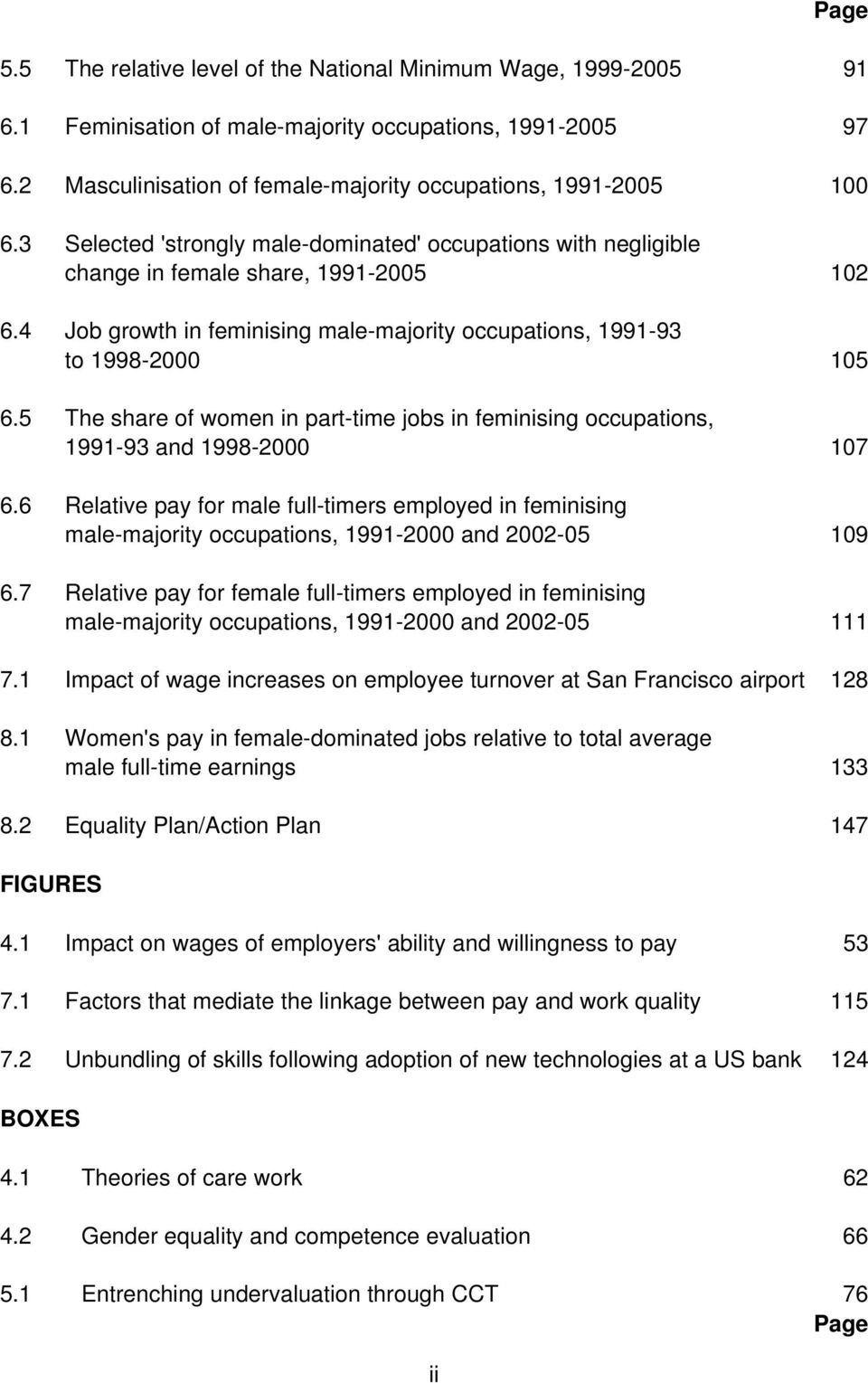 5 The share of women in part-time jobs in feminising occupations, 1991-93 and 1998-2000 107 6.
