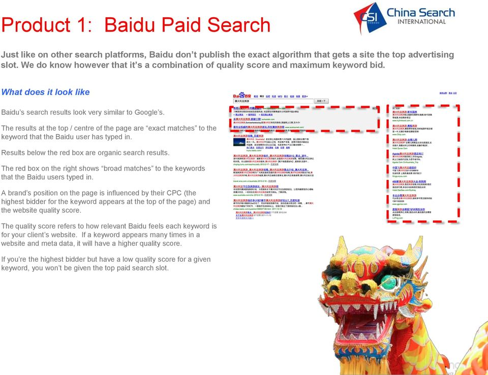 The results at the top / centre of the page are exact matches to the keyword that the Baidu user has typed in. Results below the red box are organic search results.