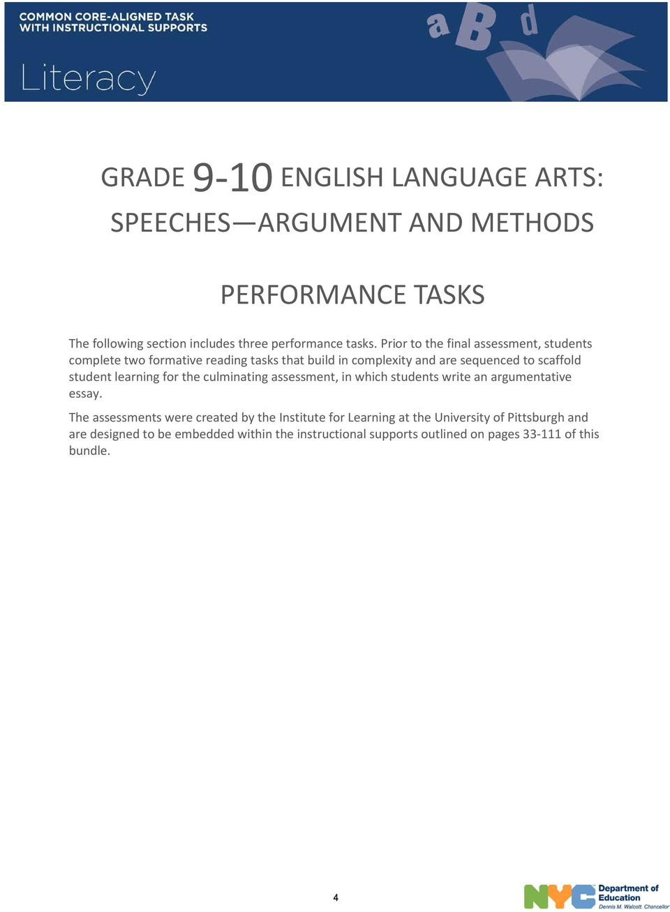 Grade  English Language Arts Speeches Argument And Methods  Pdf Learning For The Culminating Assessment In Which Students Write An  Argumentative Essay