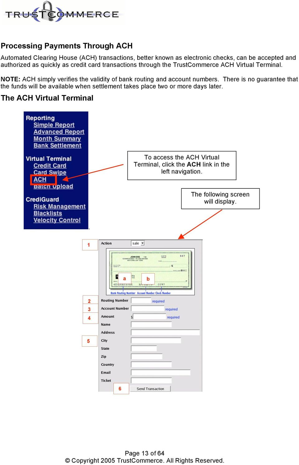 NOTE: ACH simply verifies the validity of bank routing and account numbers.