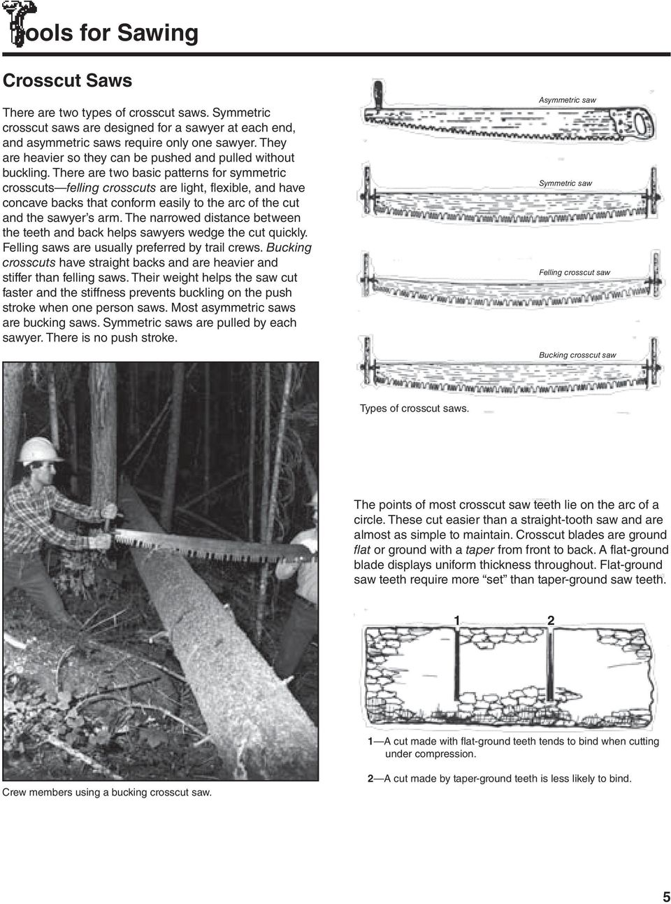 There are two basic patterns for symmetric crosscuts felling crosscuts are light, flexible, and have concave backs that conform easily to the arc of the cut and the sawyer s arm.