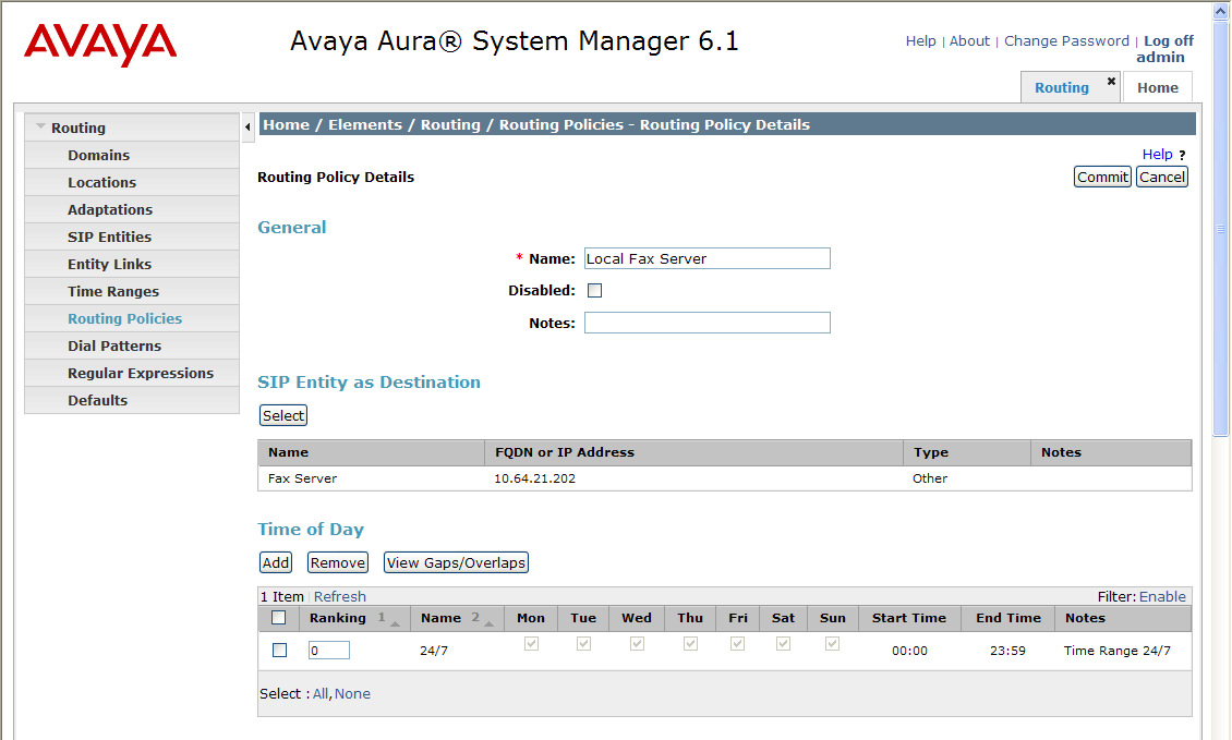 Add Routing Policies (continued) The screens below show the configuration