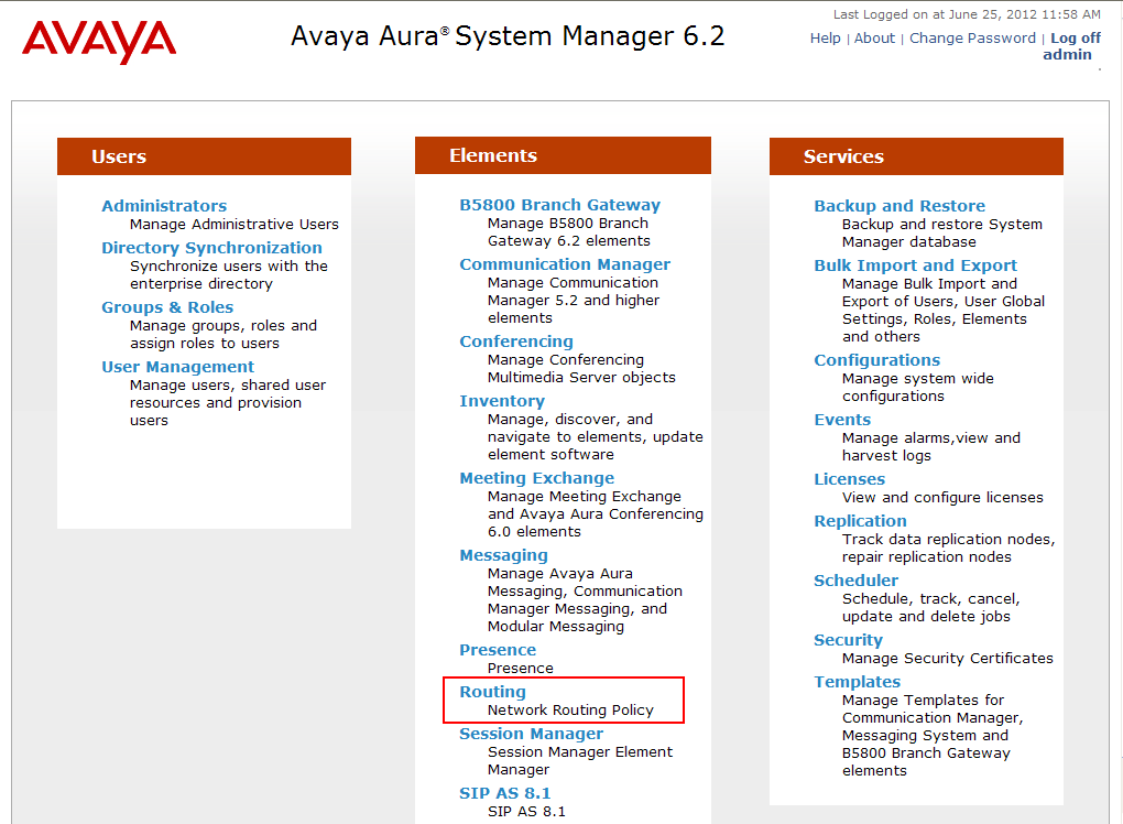 6.1. Avaya Aura System Manager Login and Navigation Session Manager configuration is accomplished by accessing the browser-based GUI of System Manager, using the URL https://<ip-address>/smgr, where