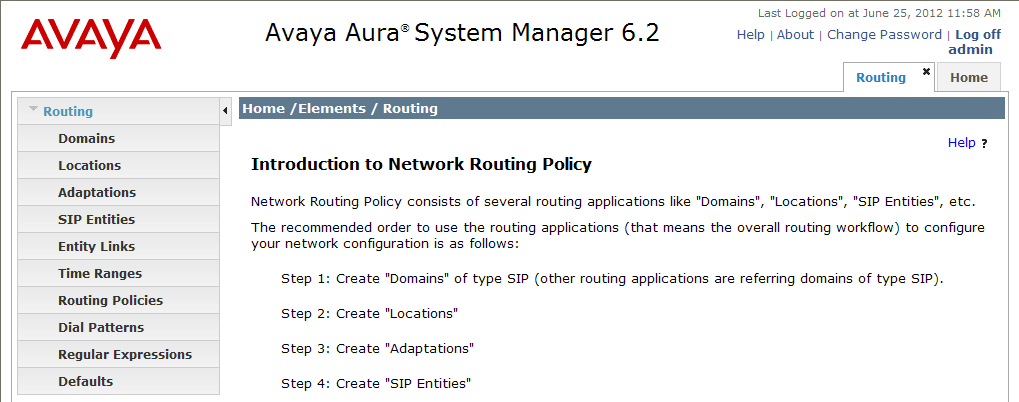 Clicking the Elements Routing link, displays the Introduction to Network Routing Policy page.