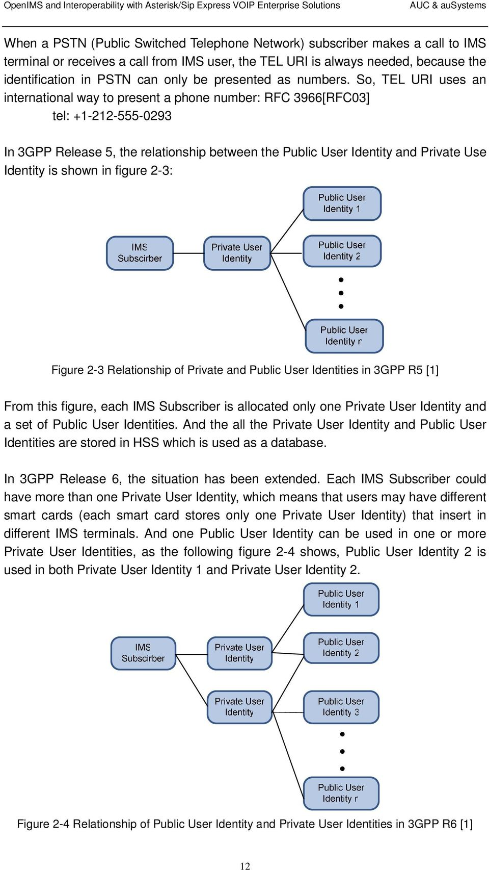 So, TEL URI uses an international way to present a phone number: RFC 3966[RFC03] tel: +1-212-555-0293 In 3GPP Release 5, the relationship between the Public User Identity and Private Use Identity is